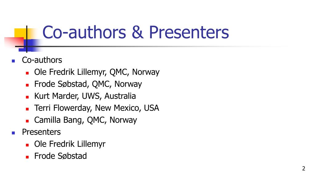 Co-authors & Presenters