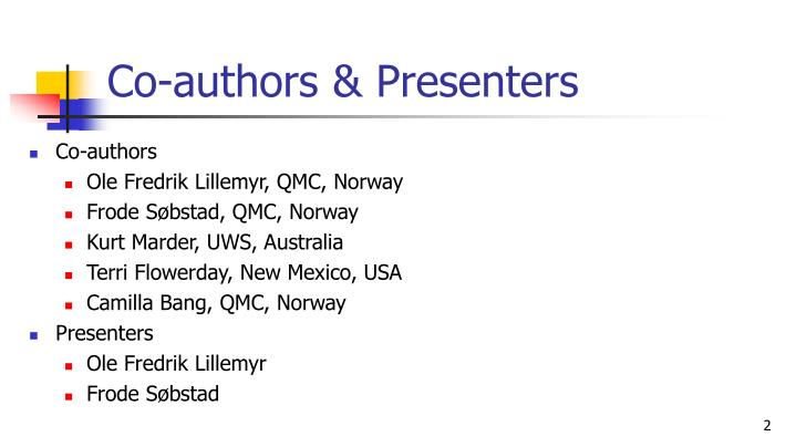 Co authors presenters