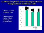 no difference in phonetic feature blending rates between portuguese literate and illiterate adults