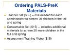 ordering pals prek materials