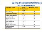 spring developmental ranges for four year olds