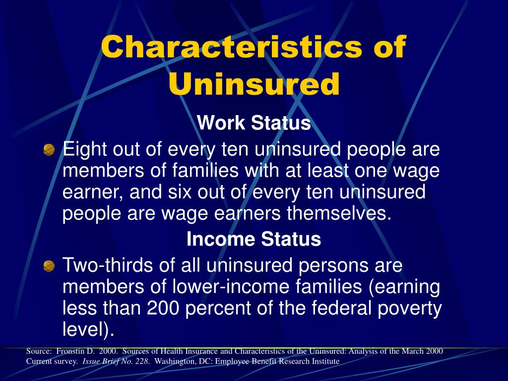 Characteristics of  Uninsured