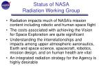 status of nasa radiation working group
