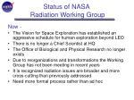 status of nasa radiation working group6