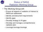 status of nasa radiation working group8