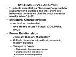 systems level analysis