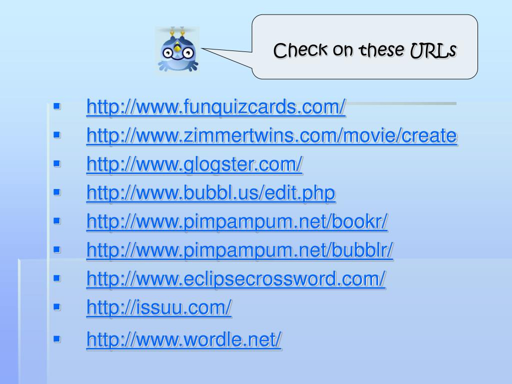 Check on these URLs