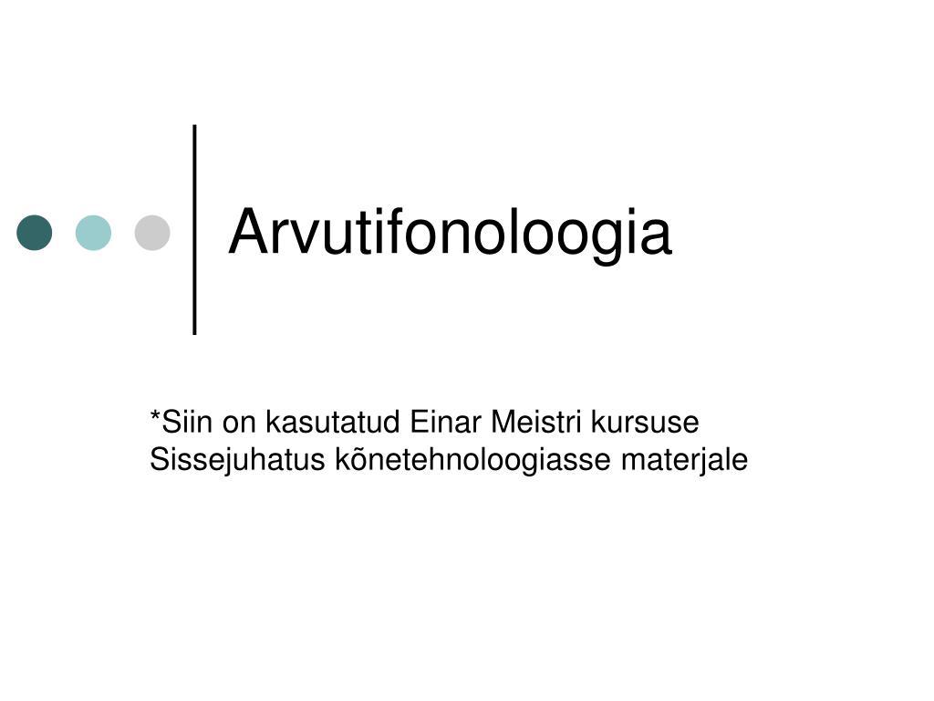 arvutifonoloogia l.
