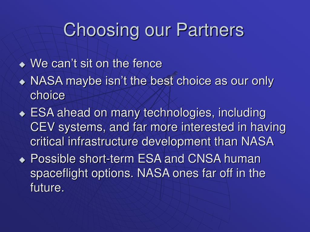 Choosing our Partners
