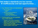 but today s standards are too narrow inefficiencies and lost opportunities