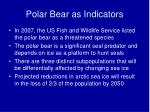 polar bear as indicators