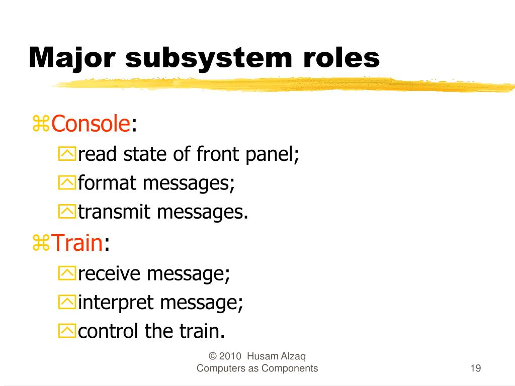 Major subsystem roles