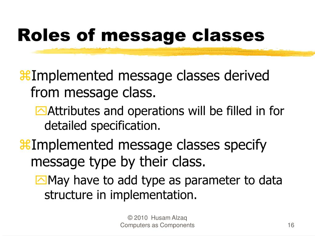 Roles of message classes