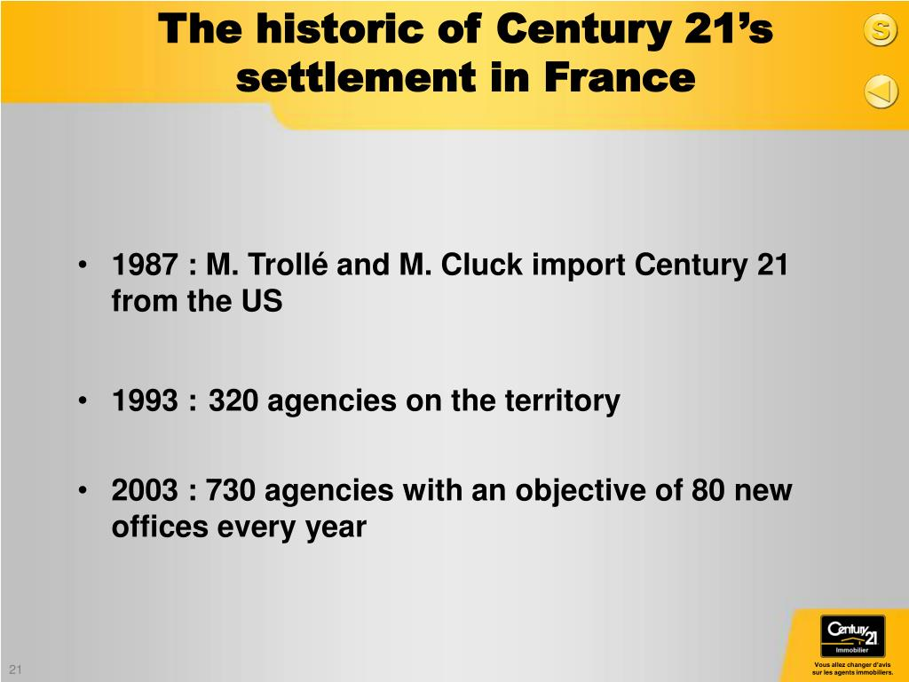 1987 : M. Trollé and M. Cluck import Century 21 from the US