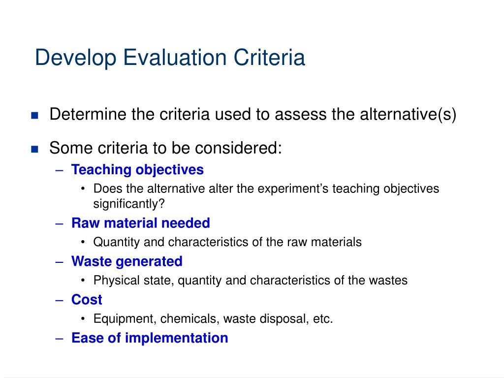 Develop Evaluation Criteria