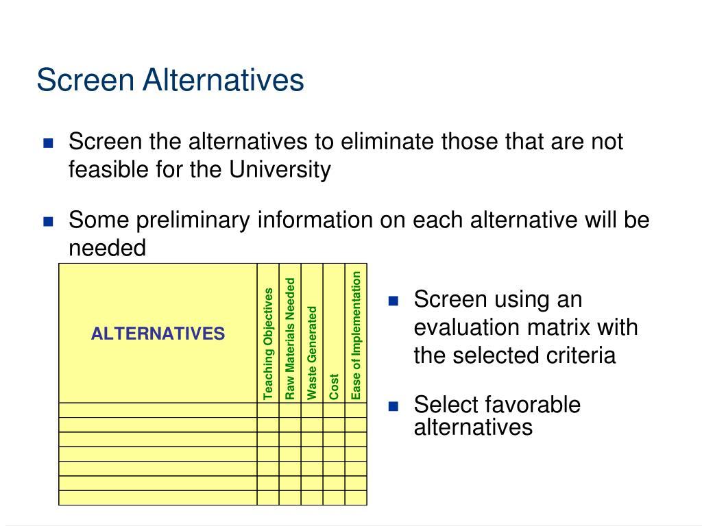 Screen Alternatives