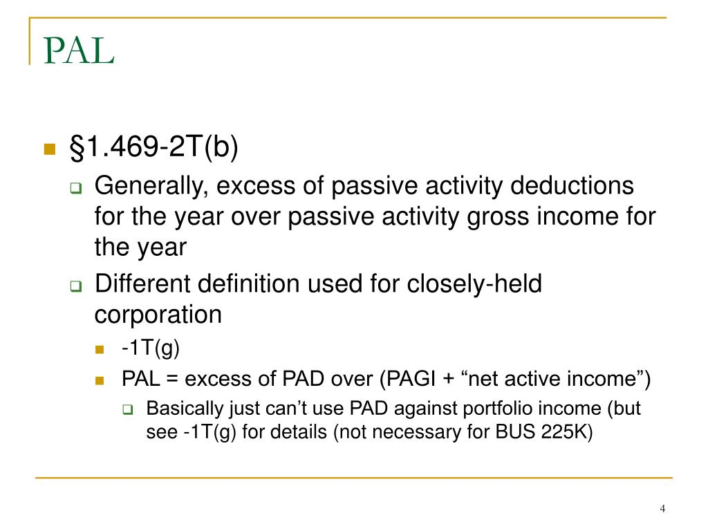 PPT - IRC §469 - Passive Activities Part 3 PowerPoint ...