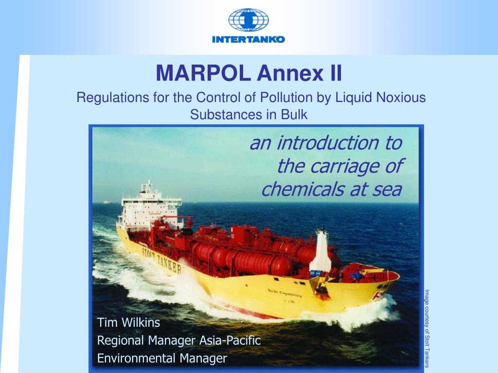 marpol annex ii regulations for the control of pollution by liquid noxious substances in bulk l.