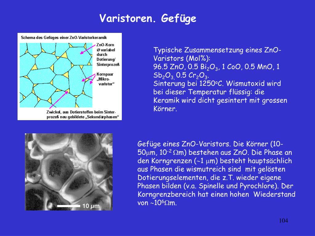 Typische Zusammensetzung eines ZnO-Varistors (Mol%):