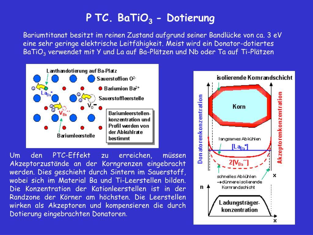 Bariumtitanat besitzt im reinen Zustand aufgrund seiner Bandlücke von ca. 3eV eine sehr geringe elektrische Leitfähigkeit. Meist wird ein Donator-dotiertes BaTiO