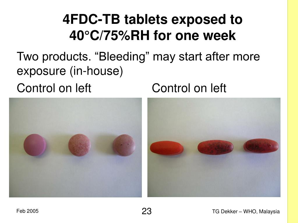 4FDC-TB tablets exposed to 40°C/75%RH for one week