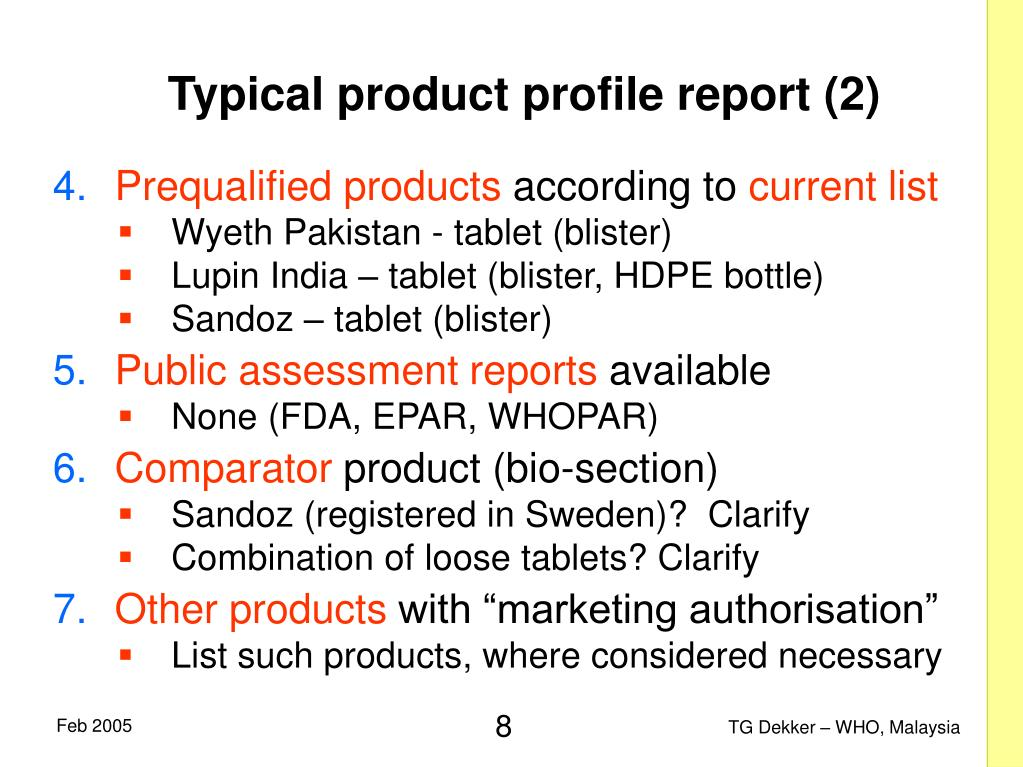 Typical product profile report (2)