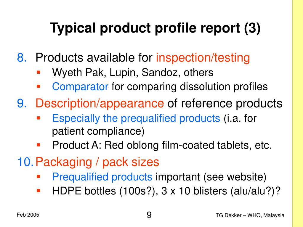 Typical product profile report (3)