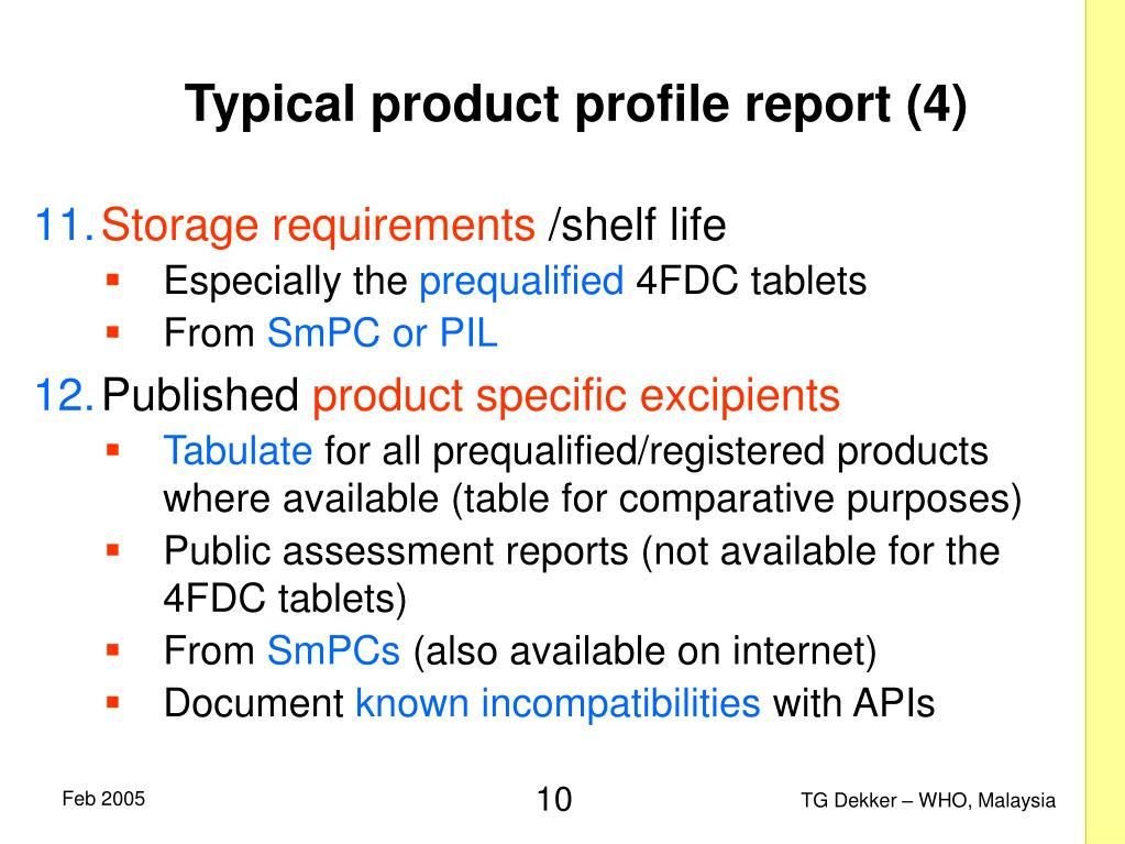 Typical product profile report (4)