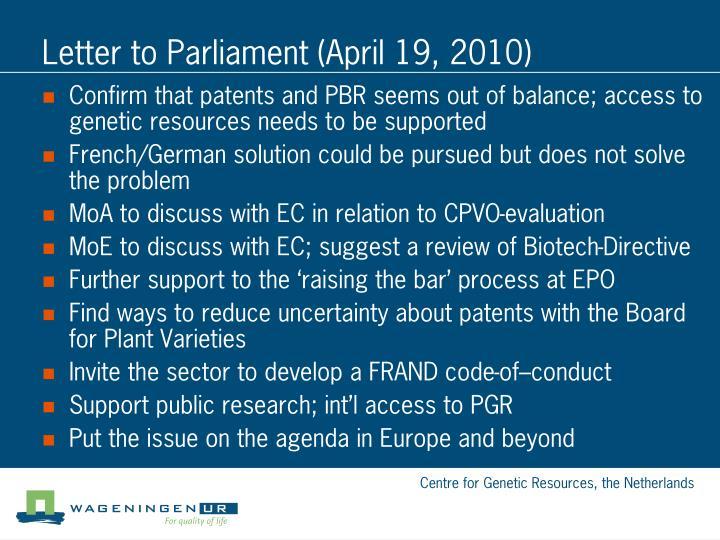 Letter to Parliament (April 19, 2010)