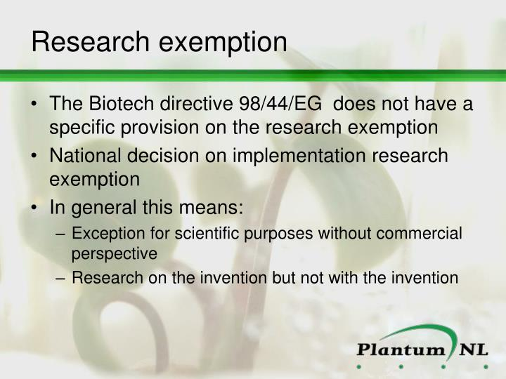 Research exemption