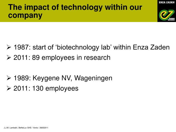 The impact of technology within our company