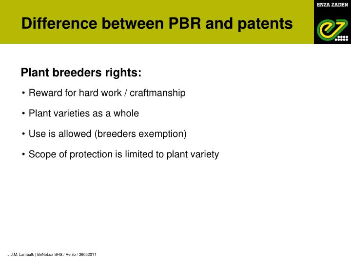 Difference between PBR and patents