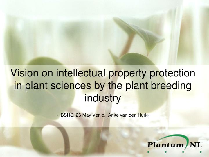 Vision on intellectual property protection in plant sciences by the plant breeding industry