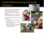 control measures against land pollution