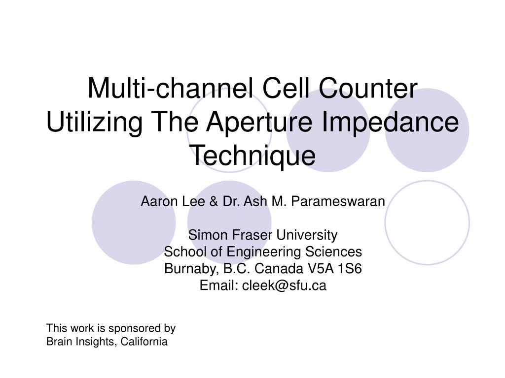 multi channel cell counter utilizing the aperture impedance technique l.