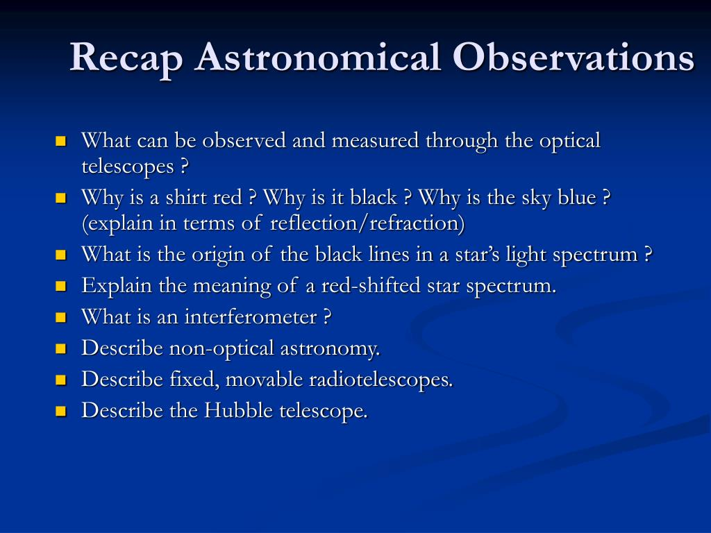 recap astronomical observations l.