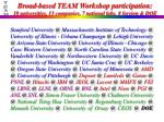 broad based team workshop participation 18 universities 13 companies 7 national labs 8 foreign doe