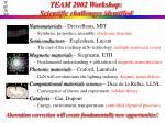 team 2002 workshop scientific challenges identified