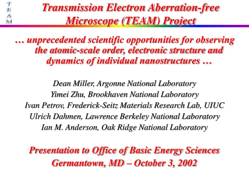 transmission electron aberration free microscope team project l.