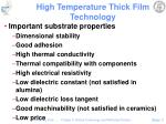high temperature thick film technology