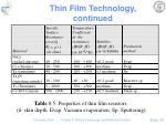 thin film technology continued