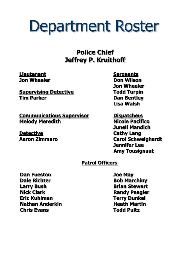 Department roster