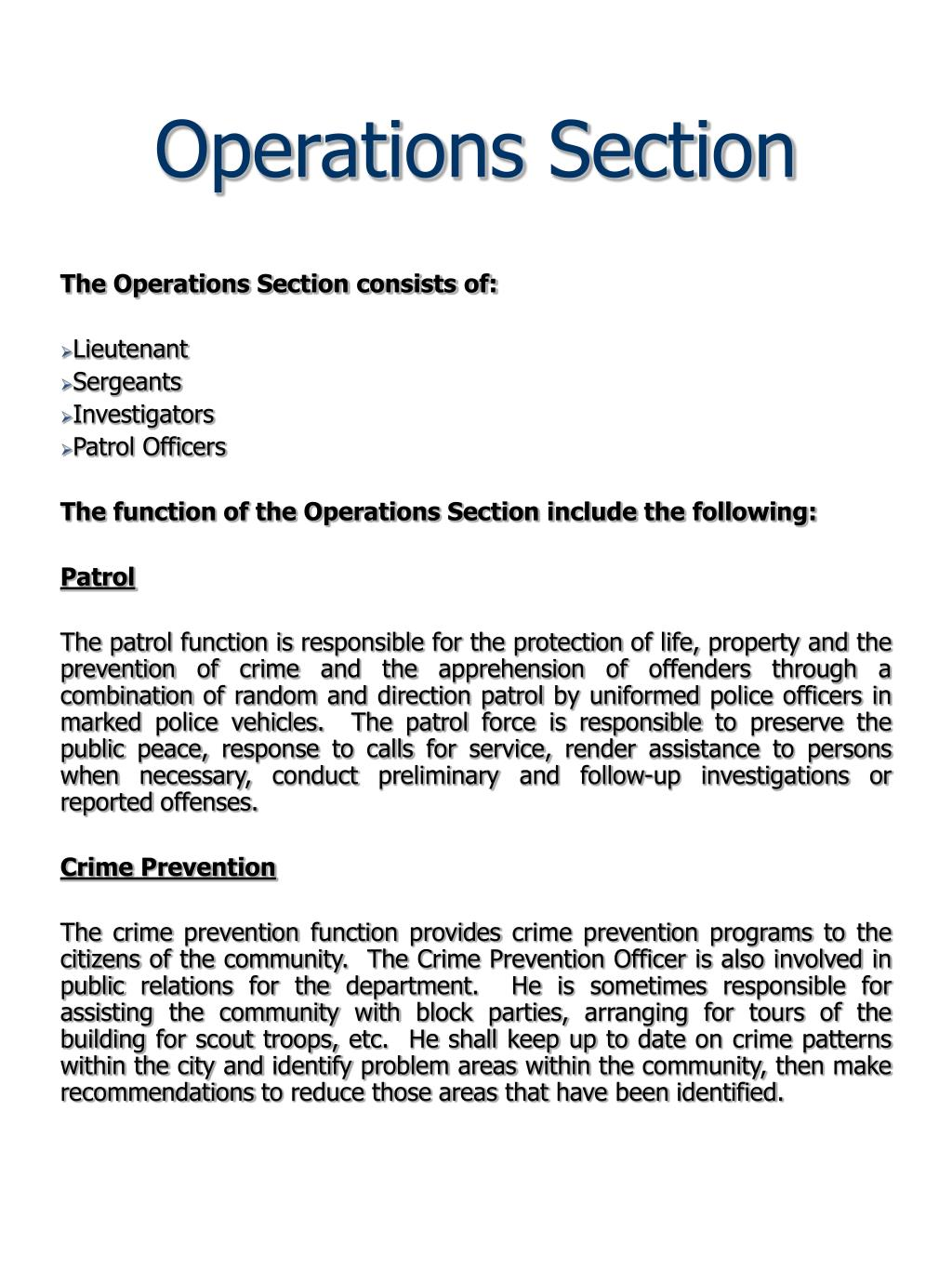 Operations Section