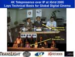 4k telepresence over ip at igrid 2005 lays technical basis for global digital cinema