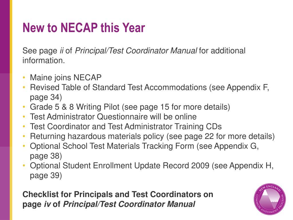 New to NECAP this Year