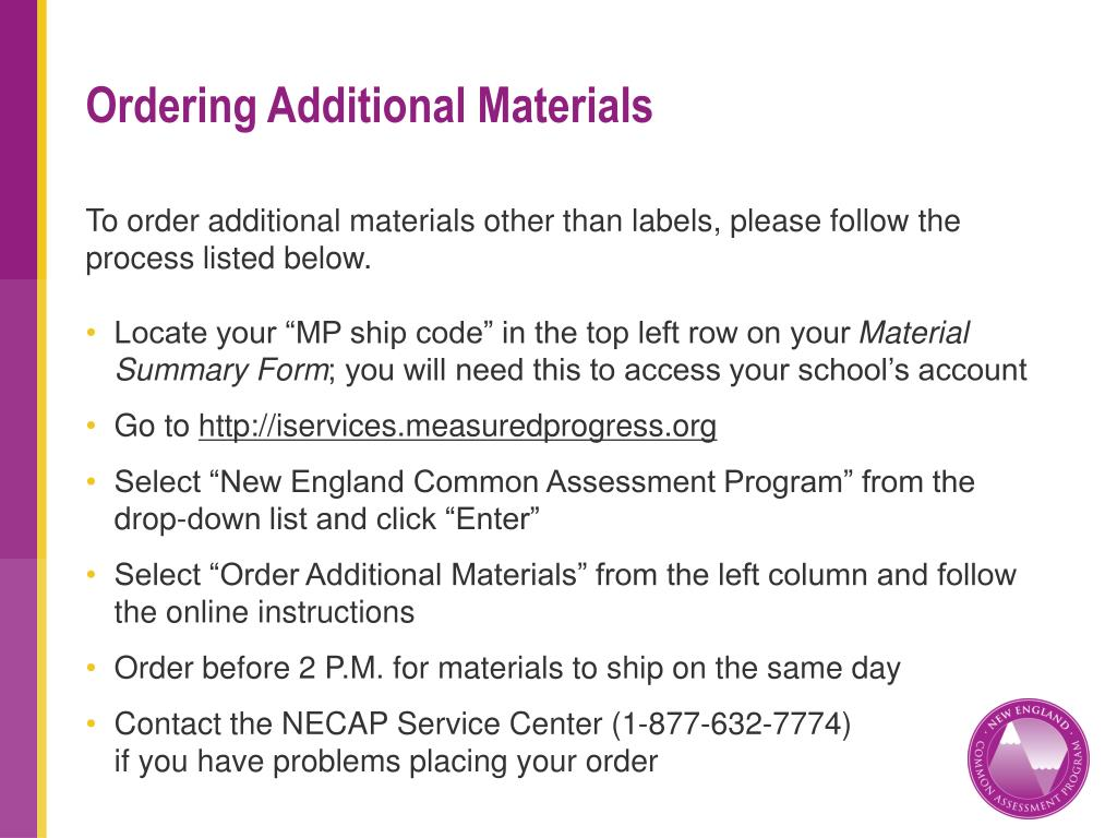 Ordering Additional Materials