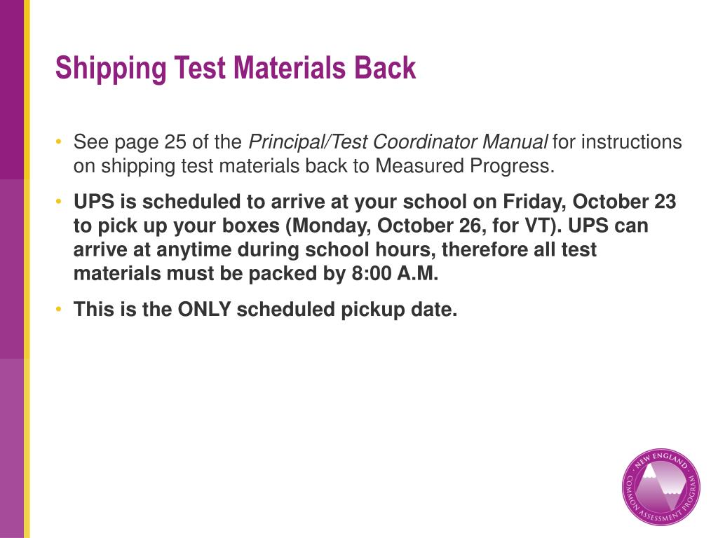 Shipping Test Materials Back