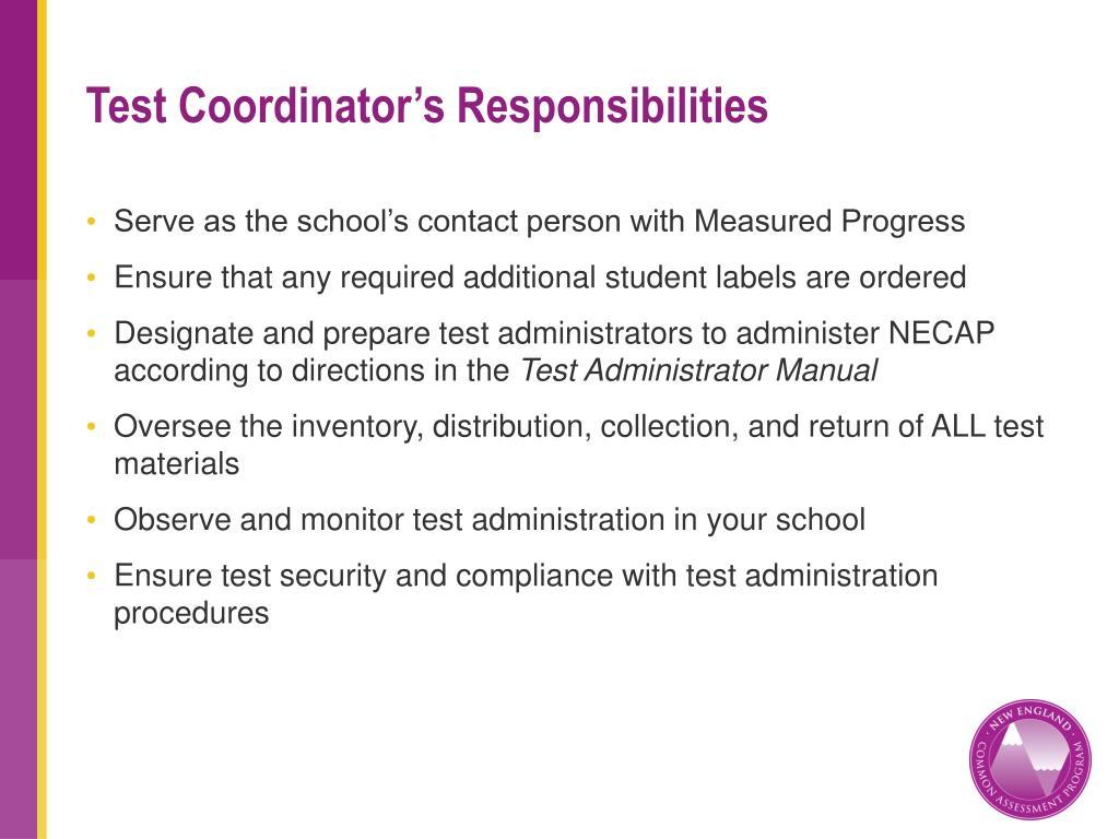 Test Coordinator's Responsibilities