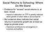 social returns to schooling where do we stand