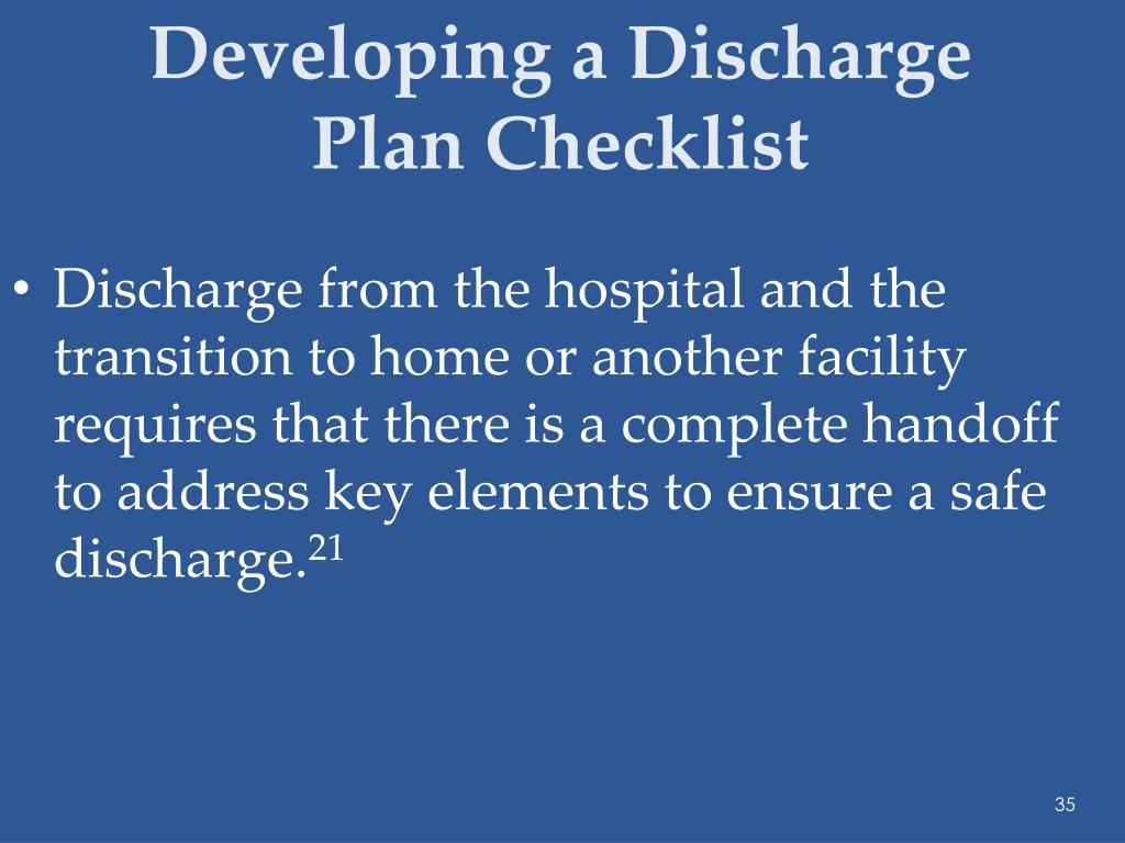 Developing a Discharge